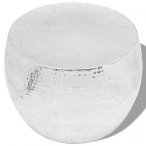 Masă de cafea rotundă din aluminiu, argintiu