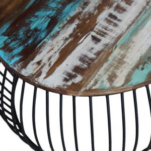 Masă de cafea rotundă, lemn reciclat de esență tare, 68x43 cm
