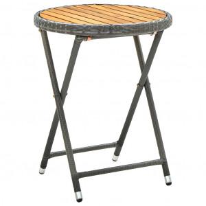 Masă de ceai, gri, 60 cm, poliratan și lemn masiv acacia