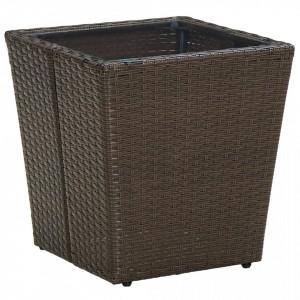 Masă de ceai, maro, 41,5x41,5x44 cm poliratan/sticlă securizată