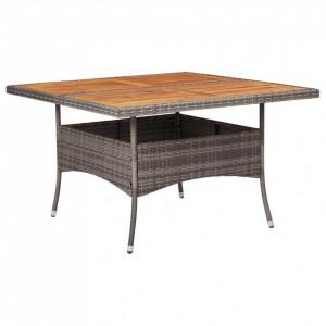 Masă de exterior, gri, poliratan și lemn masiv de acacia