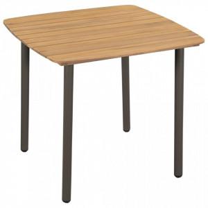 Masă de exterior, lemn masiv de acacia și oțel, 80 x 80 x 72 cm