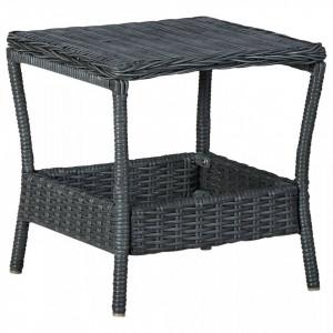 Masă de grădină, gri închis, 45 x 45 x 46,5 cm, poliratan