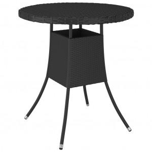 Masă de grădină, negru, 70x70x73 cm, poliratan