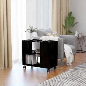 Masă laterală, negru extralucios, 70 x 35 x 55 cm, PAL