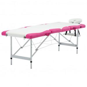 Masă pliabilă de masaj, 4 zone, aluminiu, alb și roz