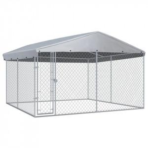 Padoc de exterior cu acoperiș pentru câini, 382x382x225 cm