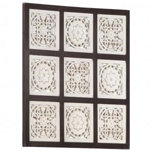 Panouri de perete sculptate manual, maro și alb, 60x60x1,5 cm, MDF