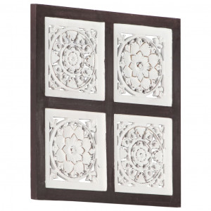 Panouri perete sculptate manual, maro/alb, 40x40x1,5 cm, MDF