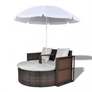 Pat de grădină cu umbrelă de soare, maro, poliratan