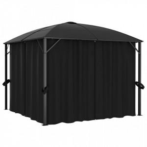 Pavilion cu perdele, antracit, 300 x 300 x 265 cm
