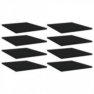 Plăci bibliotecă, 8 buc., negru, 40 x 50 x 1,5 cm, PAL