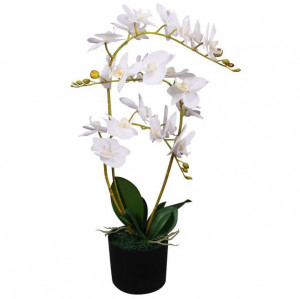 Plantă artificială orhidee cu ghiveci, 65 cm, alb