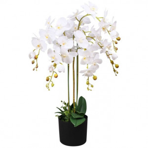 Plantă artificială orhidee cu ghiveci, 75 cm, alb
