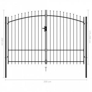 Poartă de gard cu ușă dublă, vârf ascuțit, negru, 3x2 m, oțel