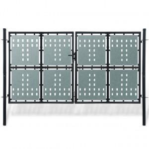 Poartă dublă neagră pentru gard 300 x 225 cm