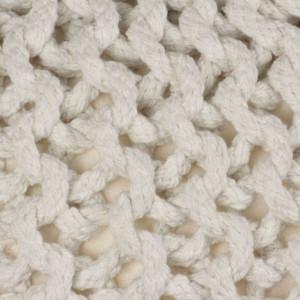 Puf tricotat manual, bumbac, 50 x 35 cm, alb