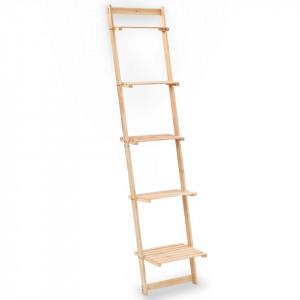 Raft de perete tip scară, lemn de cedru, 41,5 x 30 x 176 cm