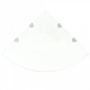 Rafturi de colț cu suporturi de crom, 2 buc., 45x45 cm, sticlă