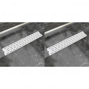 Rigolă liniară de duș, 2 buc., 630x140 mm, oțel inoxidabil, linii