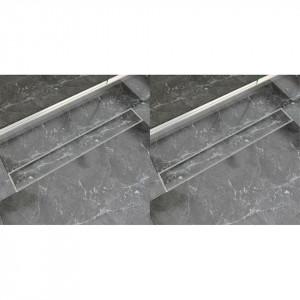 Rigolă liniară de duș, 2 buc., 830 x 140 mm, oțel inoxidabil