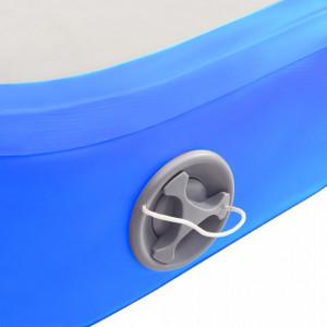 Saltea gimnastică gonflabilă cu pompă albastru 500x100x20cm PVC