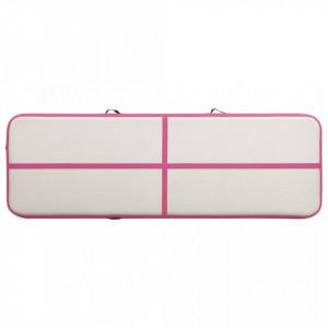 Saltea gimnastică gonflabilă cu pompă roz 500x100x20 cm PVC