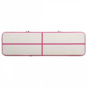 Saltea gimnastică gonflabilă cu pompă roz 700x100x15 cm PVC