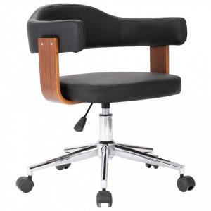 Scaun de birou pivotant, negru, lemn curbat și piele ecologică