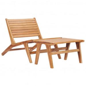 Scaun de grădină cu suport de picioare, lemn masiv de tec