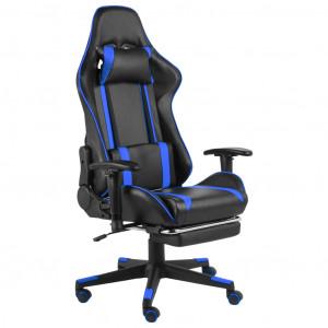 Scaun de jocuri pivotant cu suport de picioare, albastru, PVC