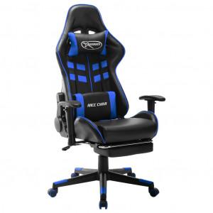 Scaun jocuri suport picioare, negru/albastru, piele artificială