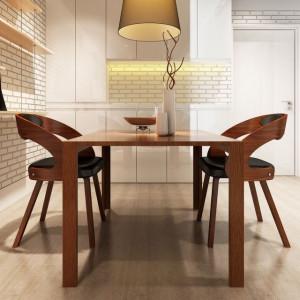 Scaune bucătărie, 2 buc., cadru lemn, piele artificială, maro