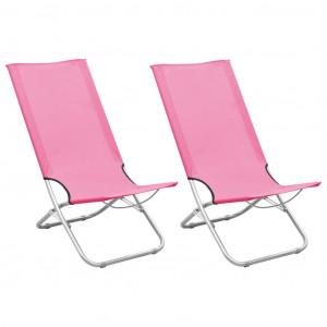 Scaune de plajă pliante, 2 buc., roz, material textil
