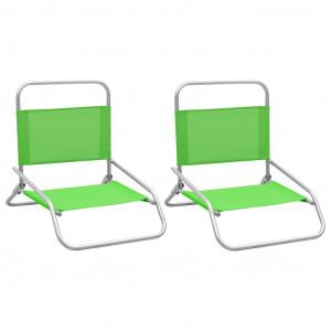 Scaune de plajă pliante, 2 buc., verde, material textil