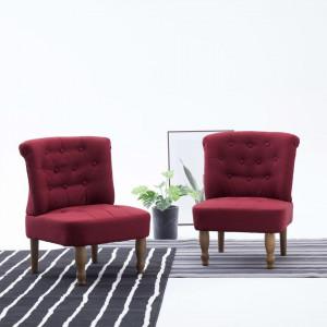 Scaune stil franțuzesc, 2 buc., roșu vin, material textil