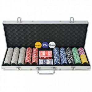 Set de poker cu 500 de jetoane cu laser din aluminiu