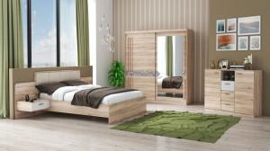 Set Dormitor Atena, Sonoma, Dulap 200 cm, Pat 160x200 cm, 2 noptiere, comoda