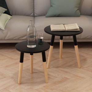 Set masă laterală 2 piese, lemn masiv de pin, negru