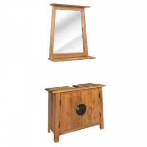 Set mobilier baie din lemn masiv de pin reciclat