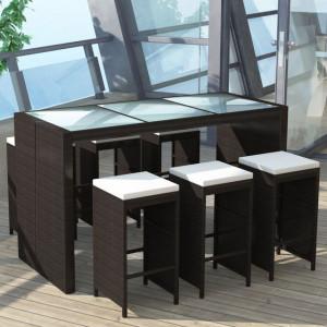 Set mobilier bar de grădină cu perne, 7 piese, maro, poliratan