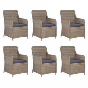 Set mobilier de exterior, 7 piese, maro, poliratan