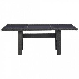Set mobilier de exterior, 7 piese, negru, poliratan