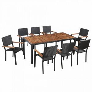 Set mobilier de exterior, 9 piese negru, poliratan, lemn acacia