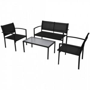 Set mobilier de grădină, 4 piese, negru, textilenă