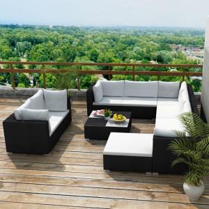 Set mobilier de grădină cu perne, 10 piese, negru, poliratan