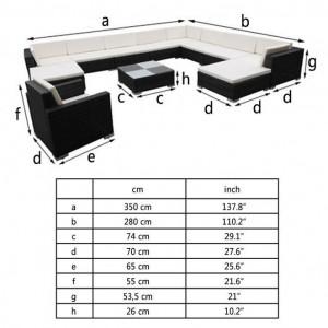 Set mobilier de grădină cu perne, 12 piese, negru, poliratan