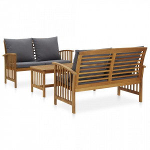 Set mobilier de grădină cu perne, 3 piese, lemn masiv de acacia