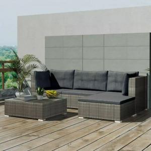 Set mobilier de grădină cu perne, 5 piese, gri, poliratan