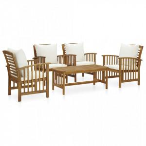 Set mobilier de grădină cu perne, 5 piese, lemn masiv de acacia